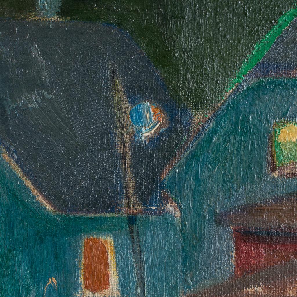 Huse ved Bakken, Aften, 1945 by Hans Øllgaard,-139278