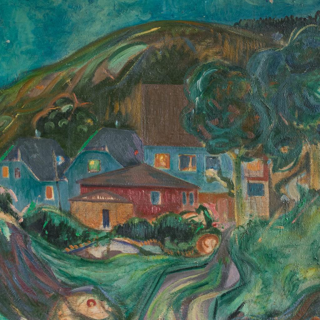 Mid century oil-on-canvas,