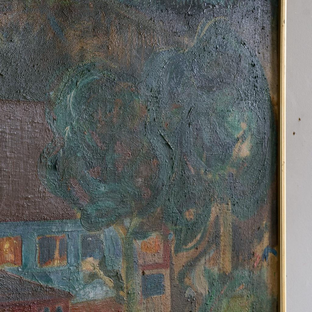 Huse ved Bakken, Aften, 1945 by Hans Øllgaard,-139271
