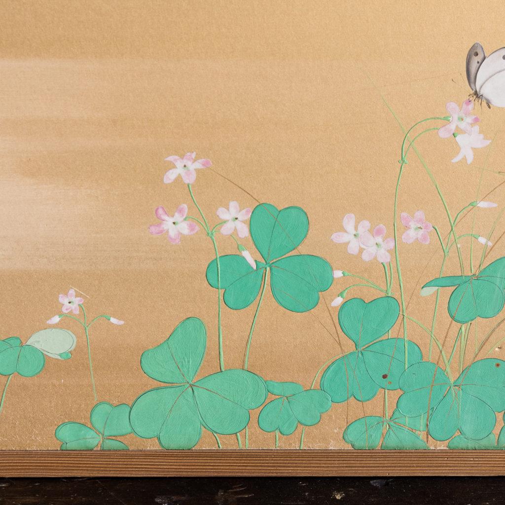 Hand-painted Furosaki-byobu screen of Butterflies, by Reiki Yamaguchi-139450
