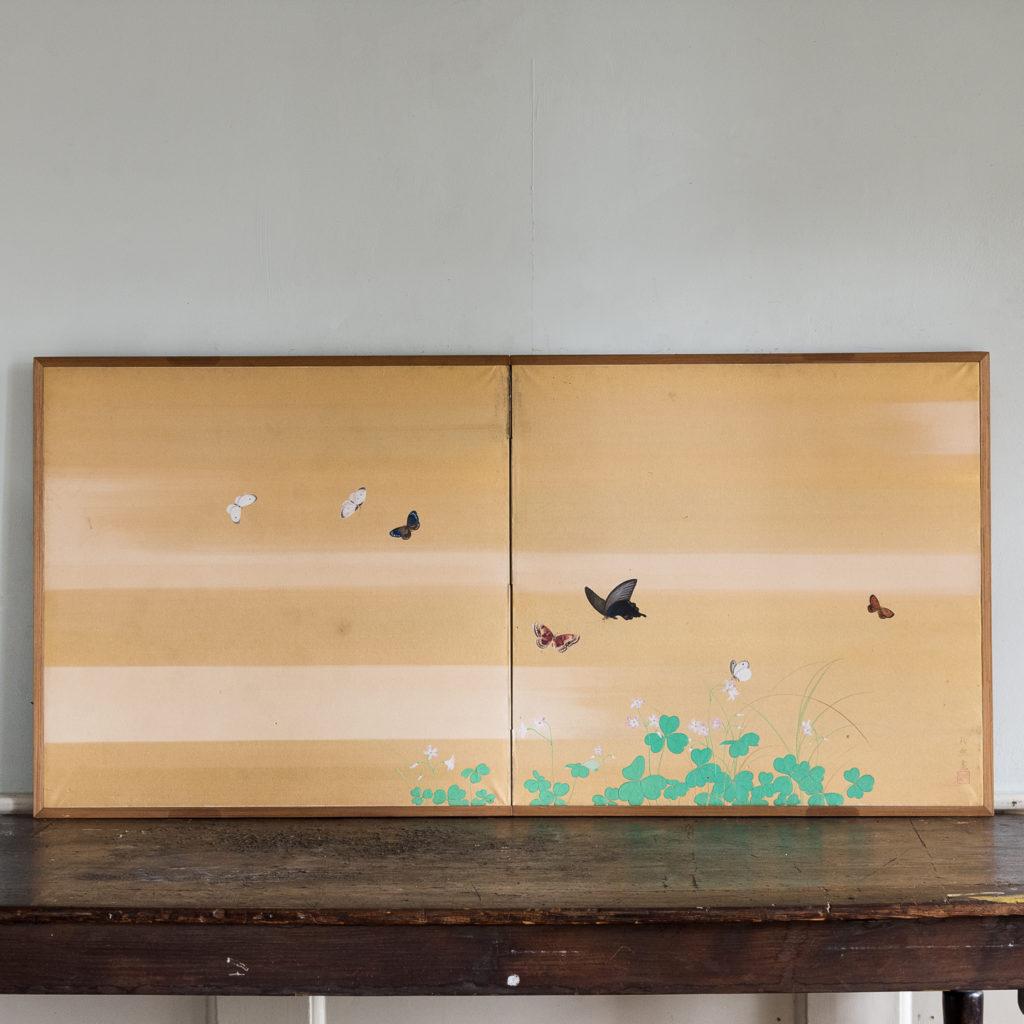 Hand-painted Furosaki-byobu screen of Butterflies, by Reiki Yamaguchi
