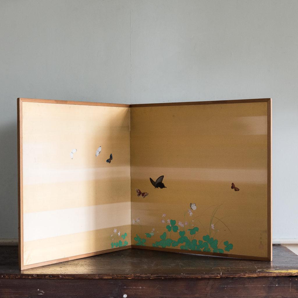 Hand-painted Furosaki-byobu screen of Butterflies, by Reiki Yamaguchi-139443