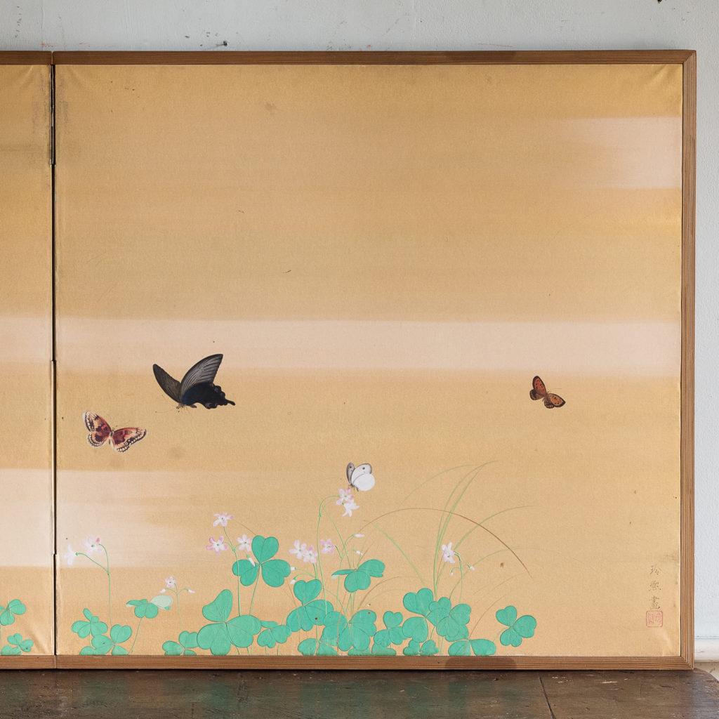 Hand-painted Furosaki-byobu screen of Butterflies, by Reiki Yamaguchi-139445