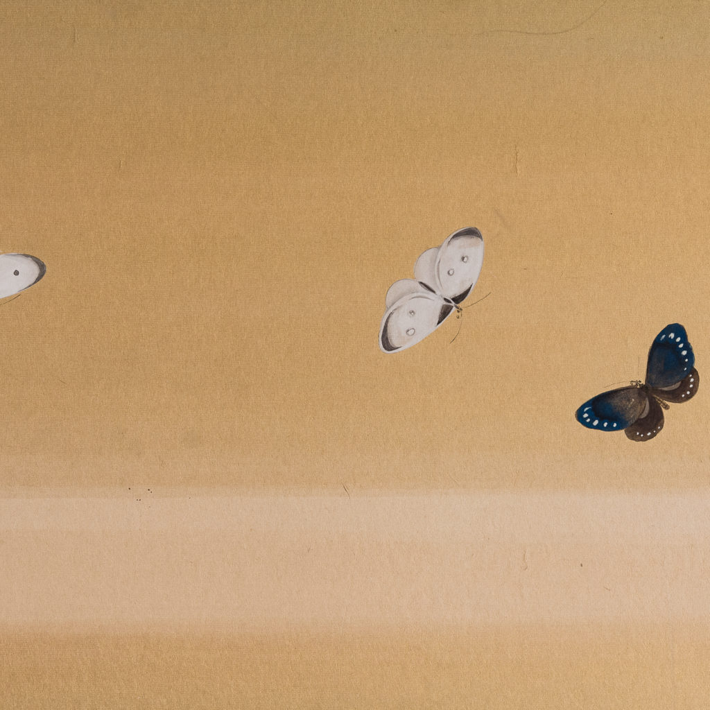 Hand-painted Furosaki-byobu screen of Butterflies, by Reiki Yamaguchi-139446