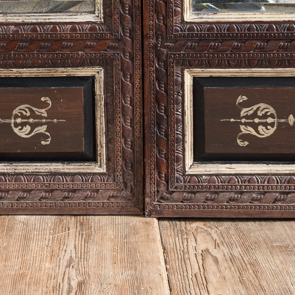 Pair of carved hardwood and mirrored door panels,-139978