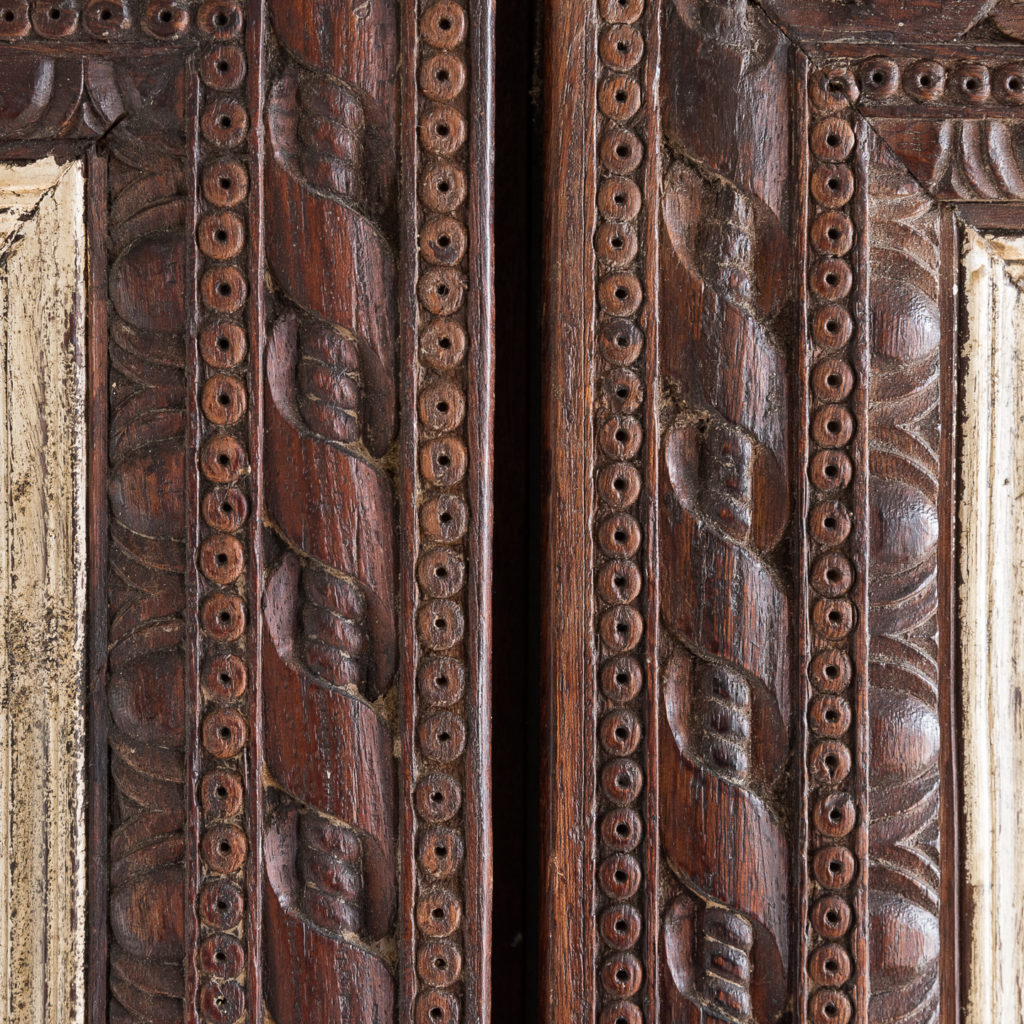Pair of carved hardwood and mirrored door panels,-139972