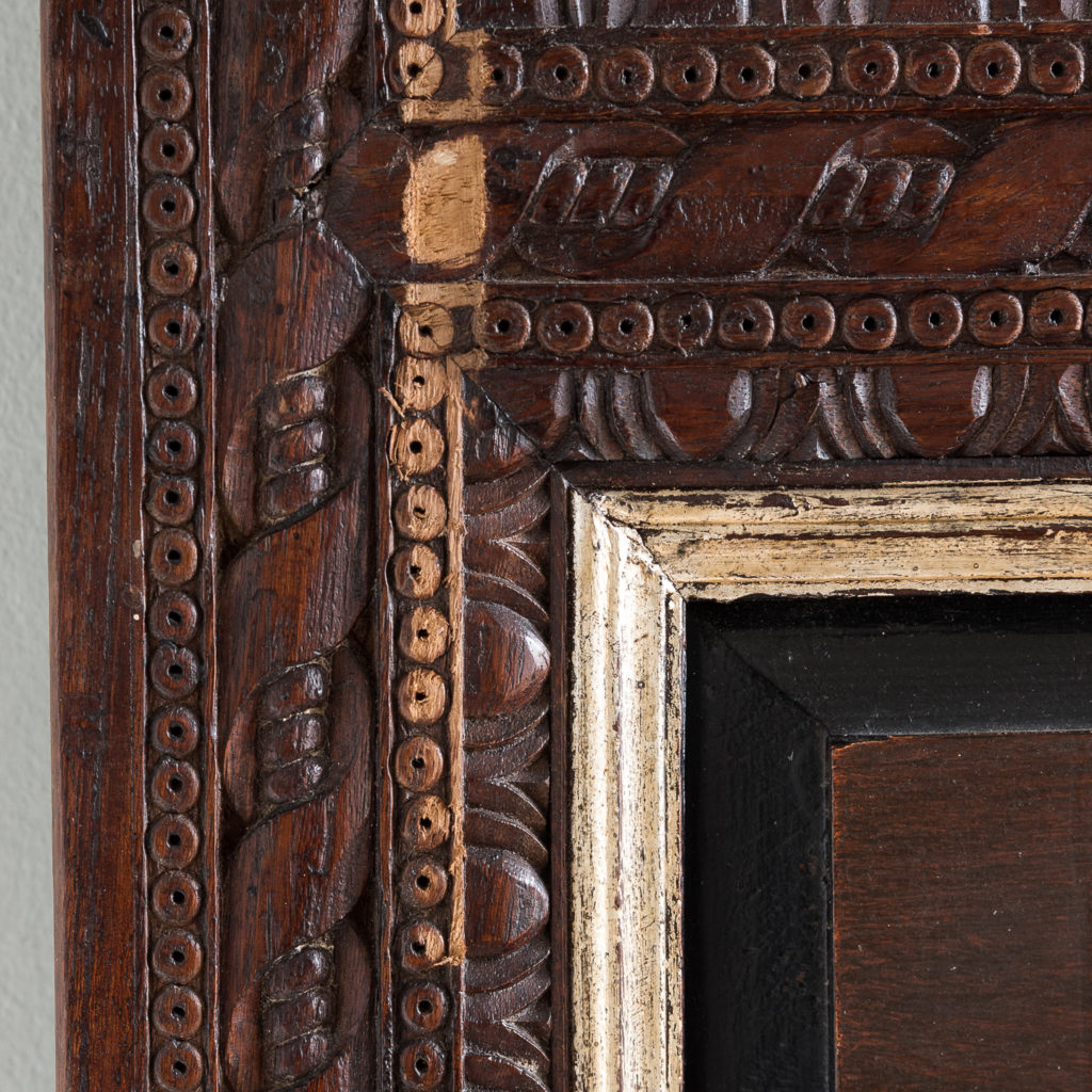Pair of carved hardwood and mirrored door panels,-139975