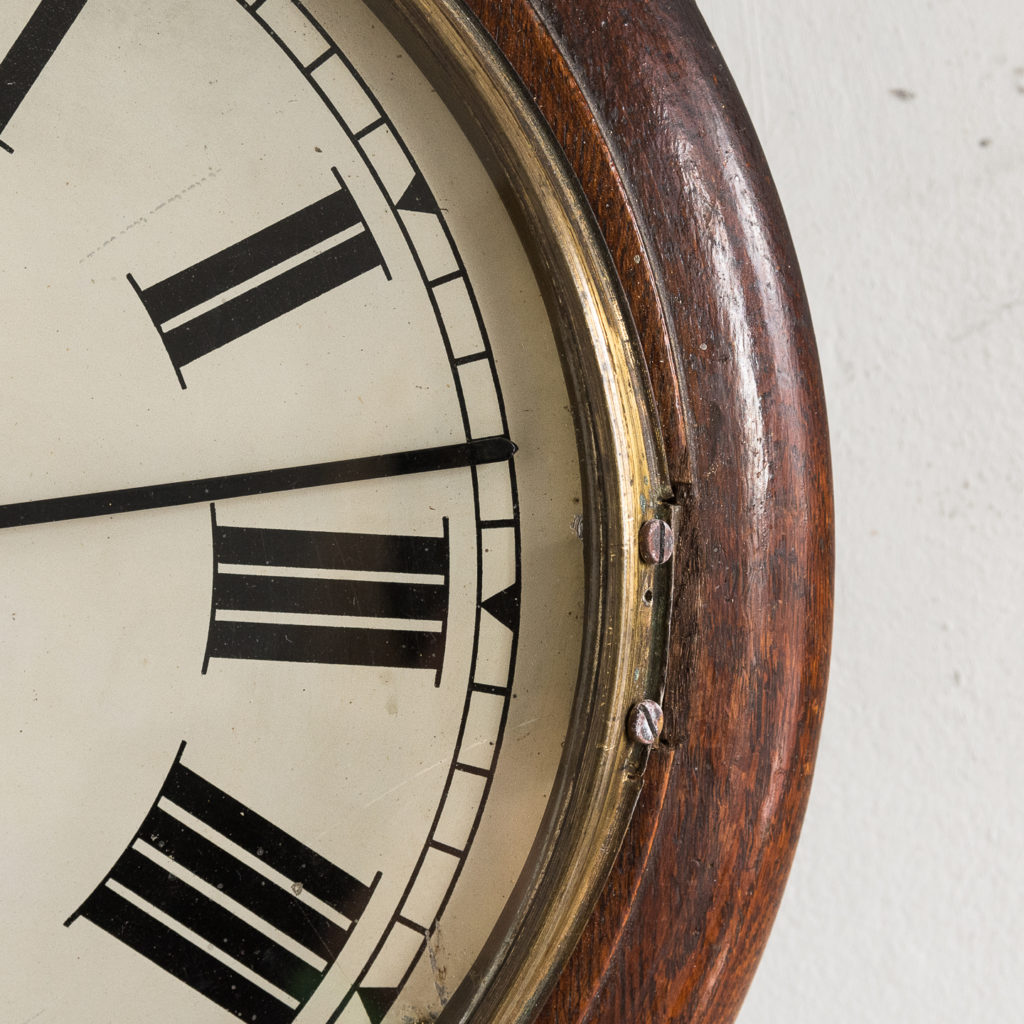 Victorian oak cased dial clock, -140377