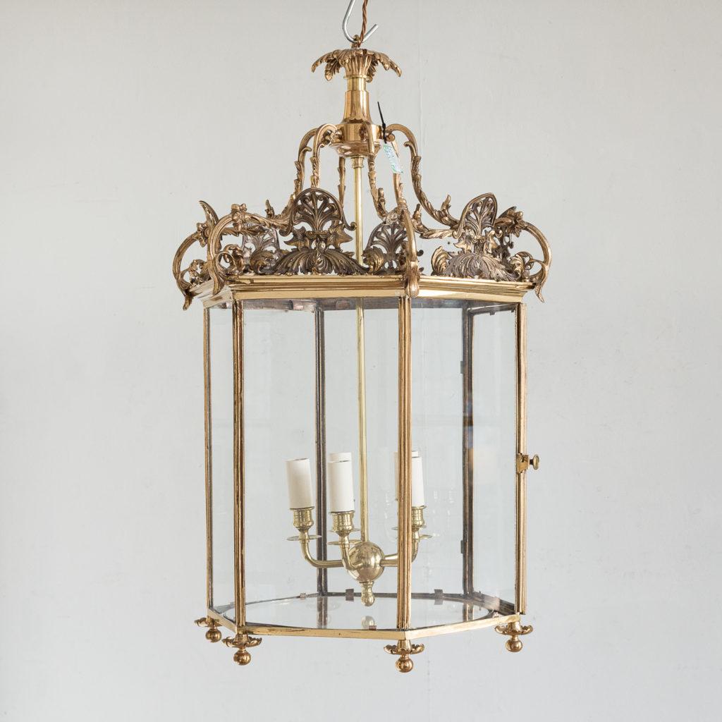 Regency style gilt brass hall lantern,