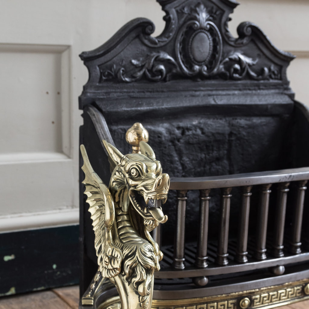 Victorian iron and brass Griffin fire grate, -139857
