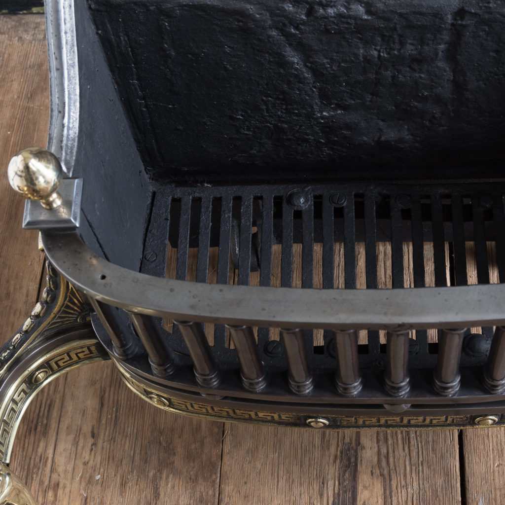 Victorian iron and brass Griffin fire grate, -139858