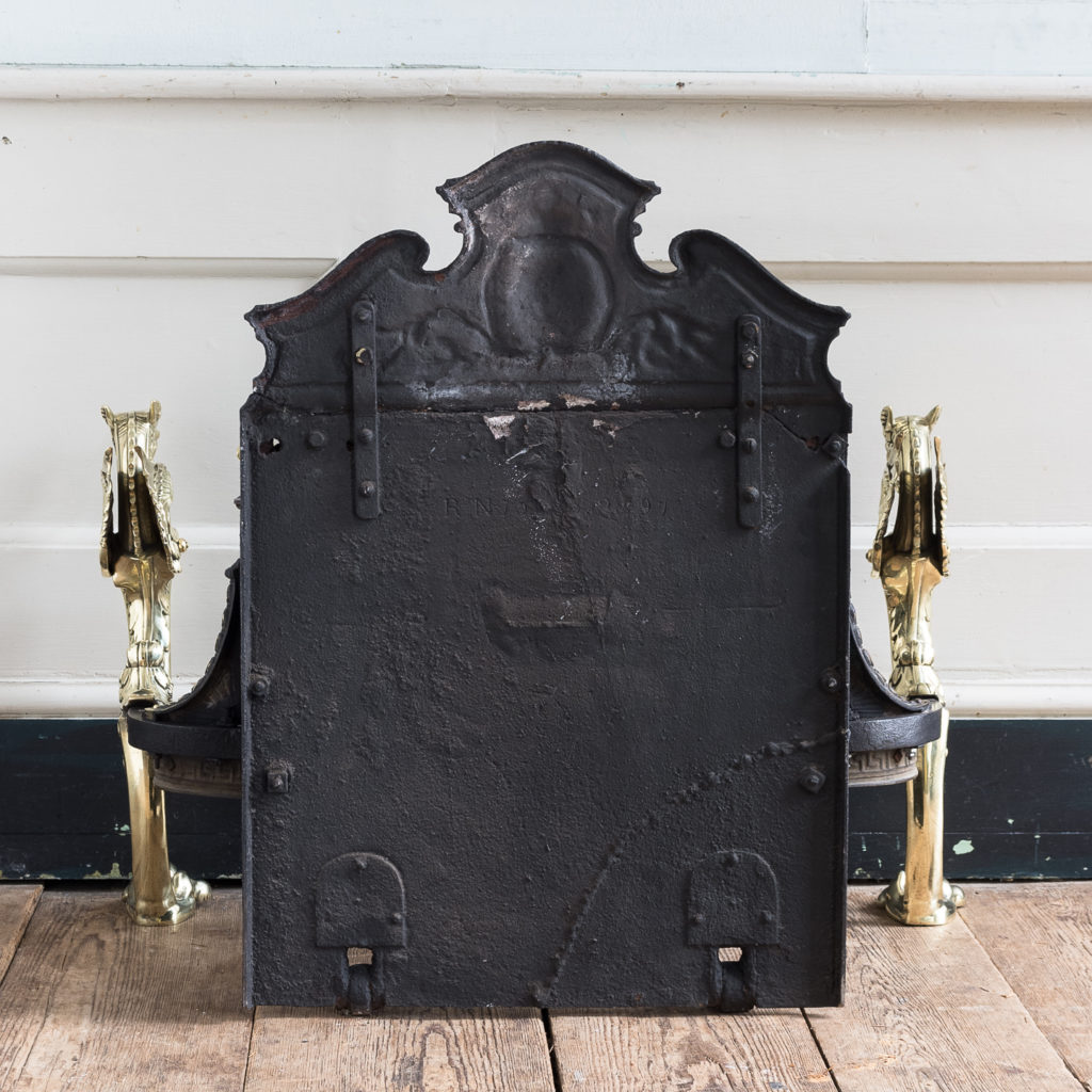 Victorian iron and brass Griffin fire grate, -139861