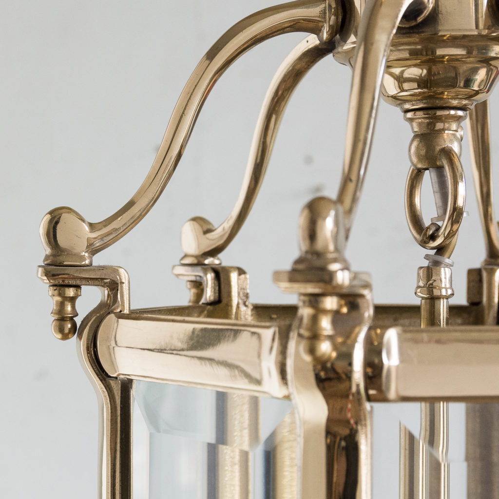 Three small Georgian style brass hall lanterns,-139832