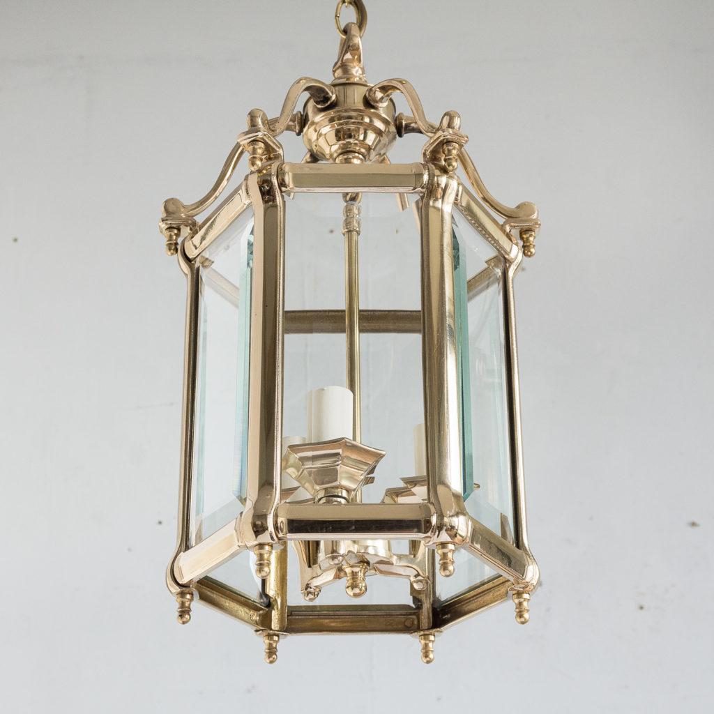 Three small Georgian style brass hall lanterns,-139836
