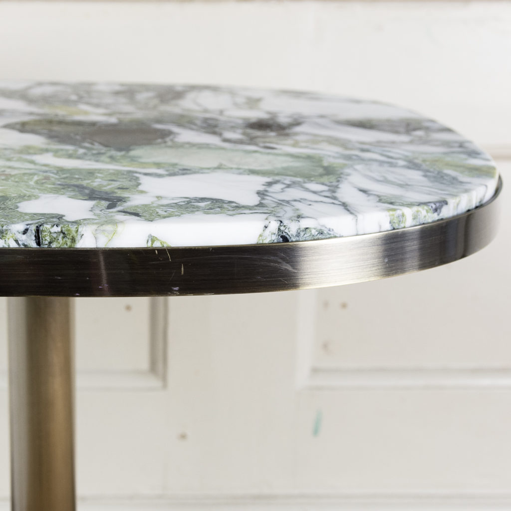 Brushed steel and marble restaurant tables,-139865