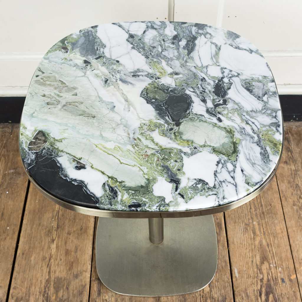 Brushed steel and marble restaurant tables,-139869