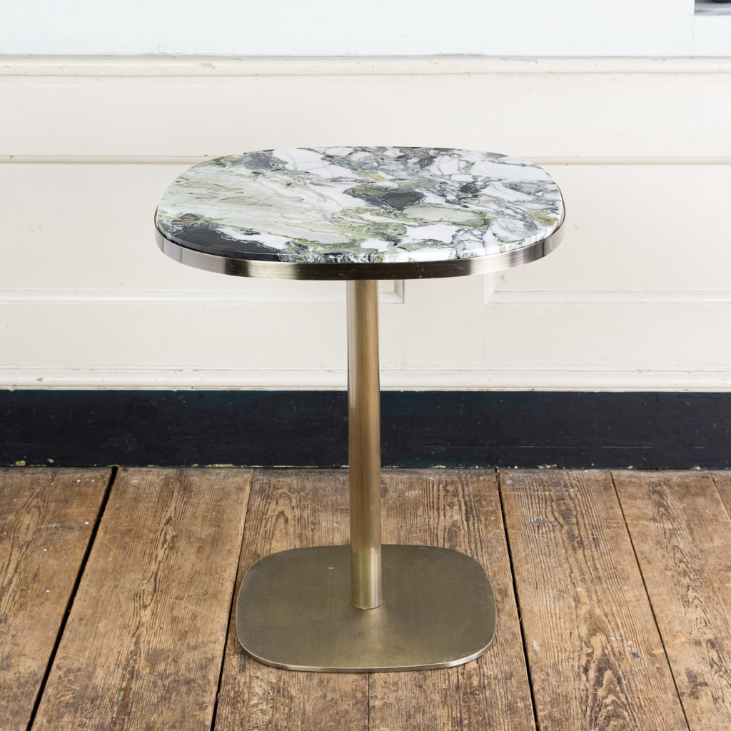 Brushed steel and marble restaurant tables,-0