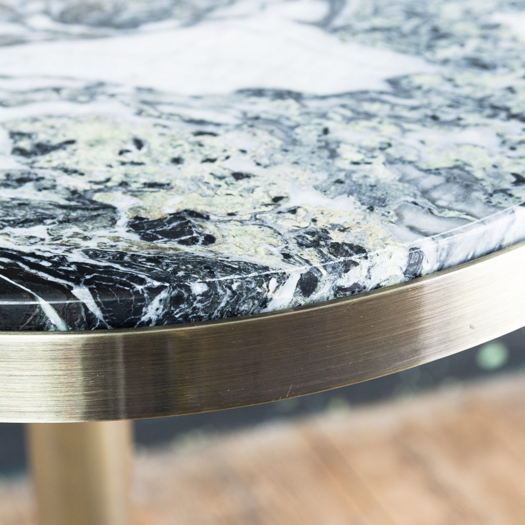 Brushed steel and marble restaurant tables,-139881