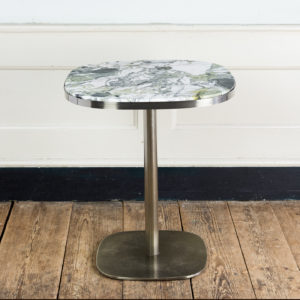 Brushed steel and marble restaurant tables,