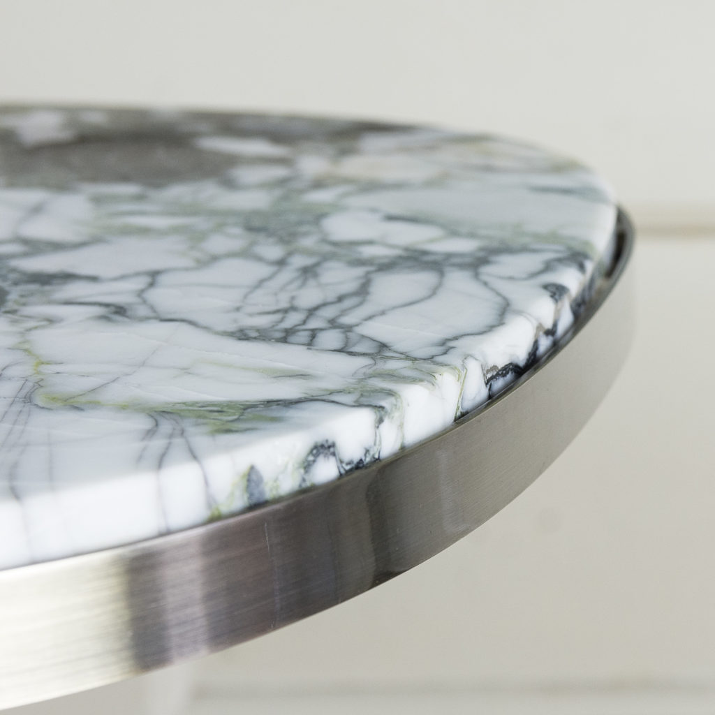 Brushed steel and marble restaurant tables,-139895