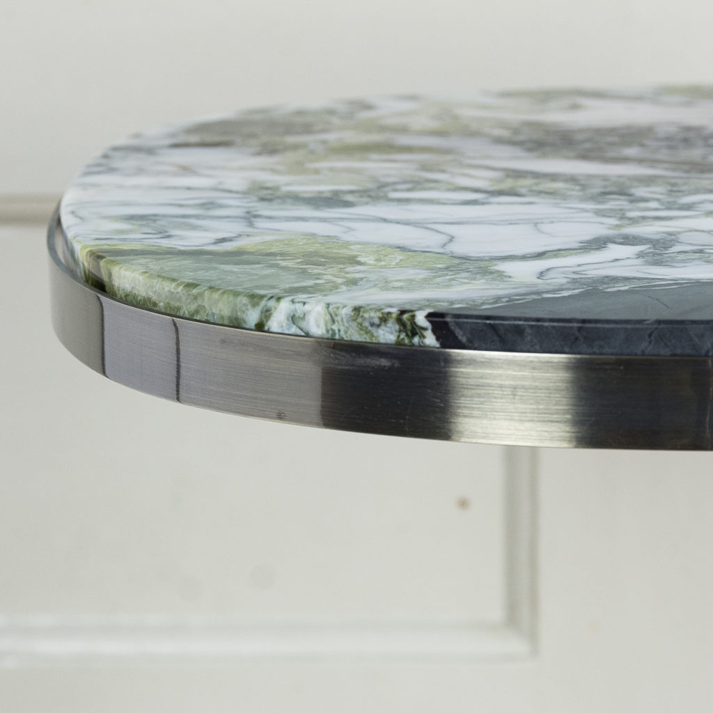 Brushed steel and marble restaurant tables,-139897