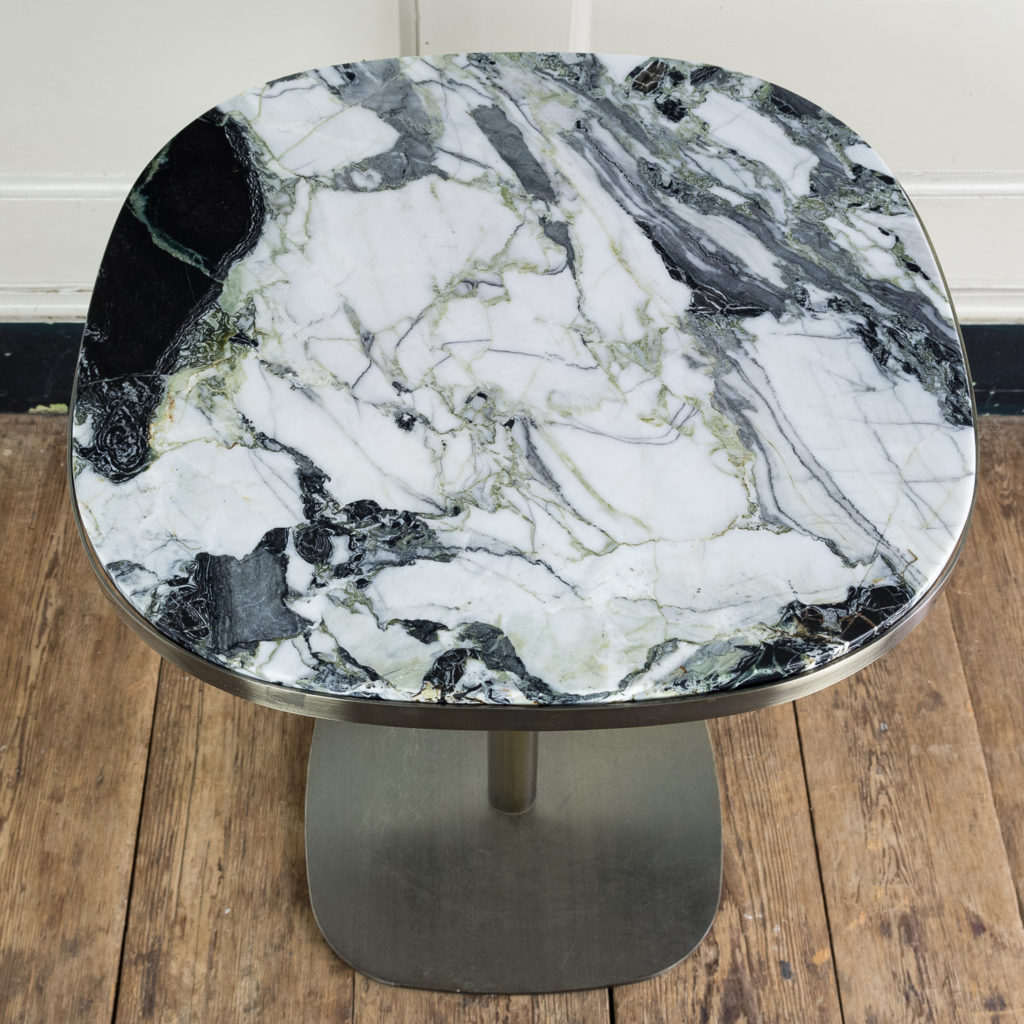 with variegated green marble tops.