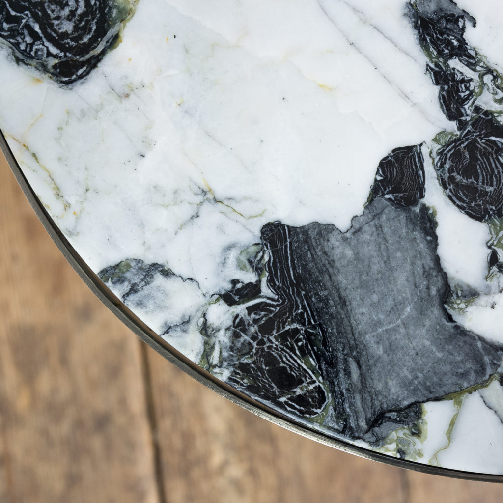 Brushed steel and marble restaurant tables,-139910
