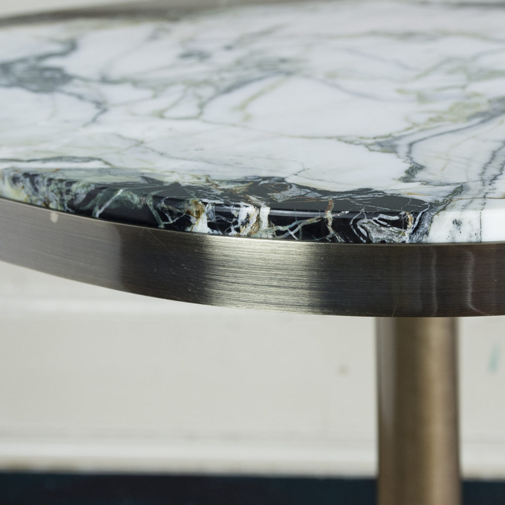 Brushed steel and marble restaurant tables,-139911