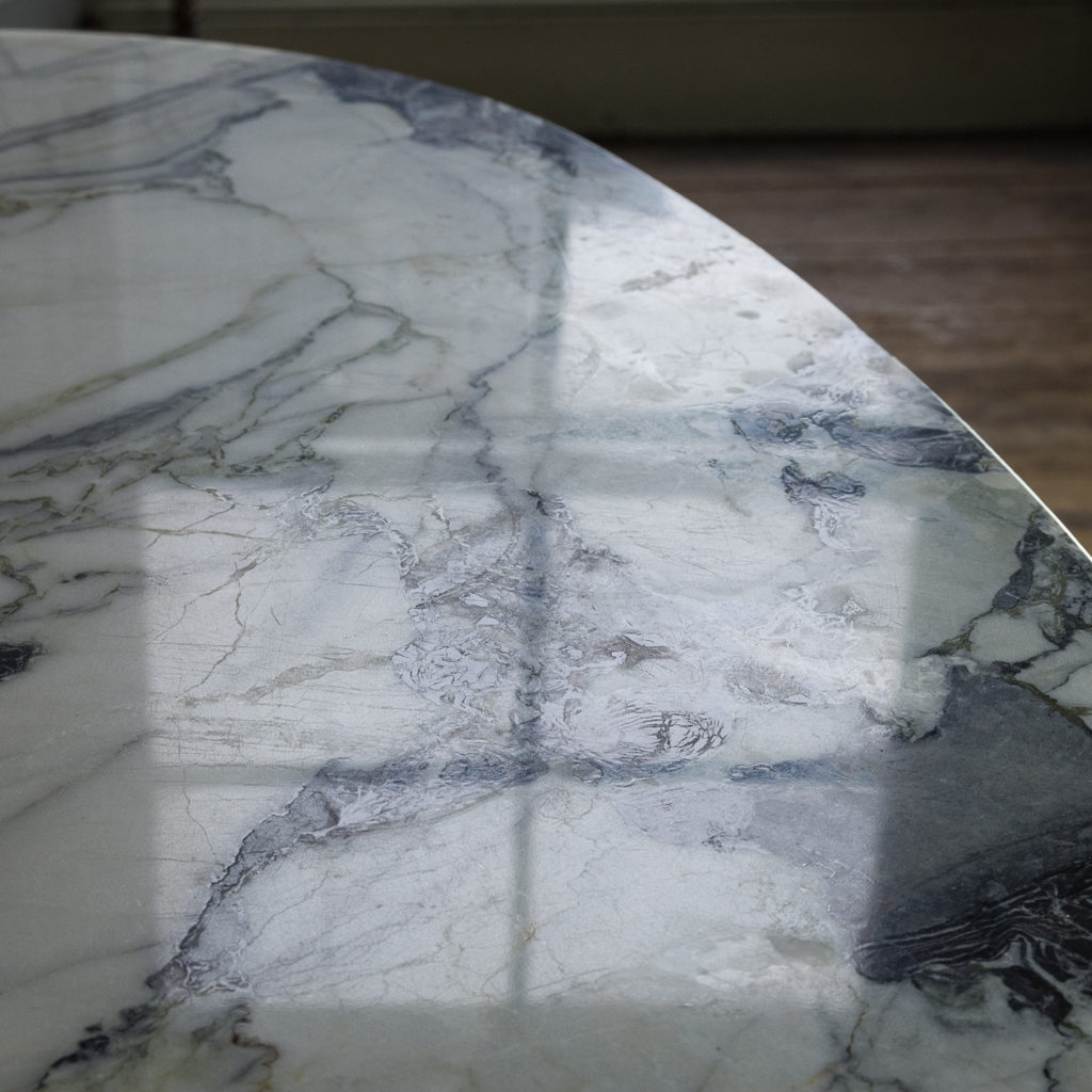 Brushed steel and marble restaurant tables,-139913