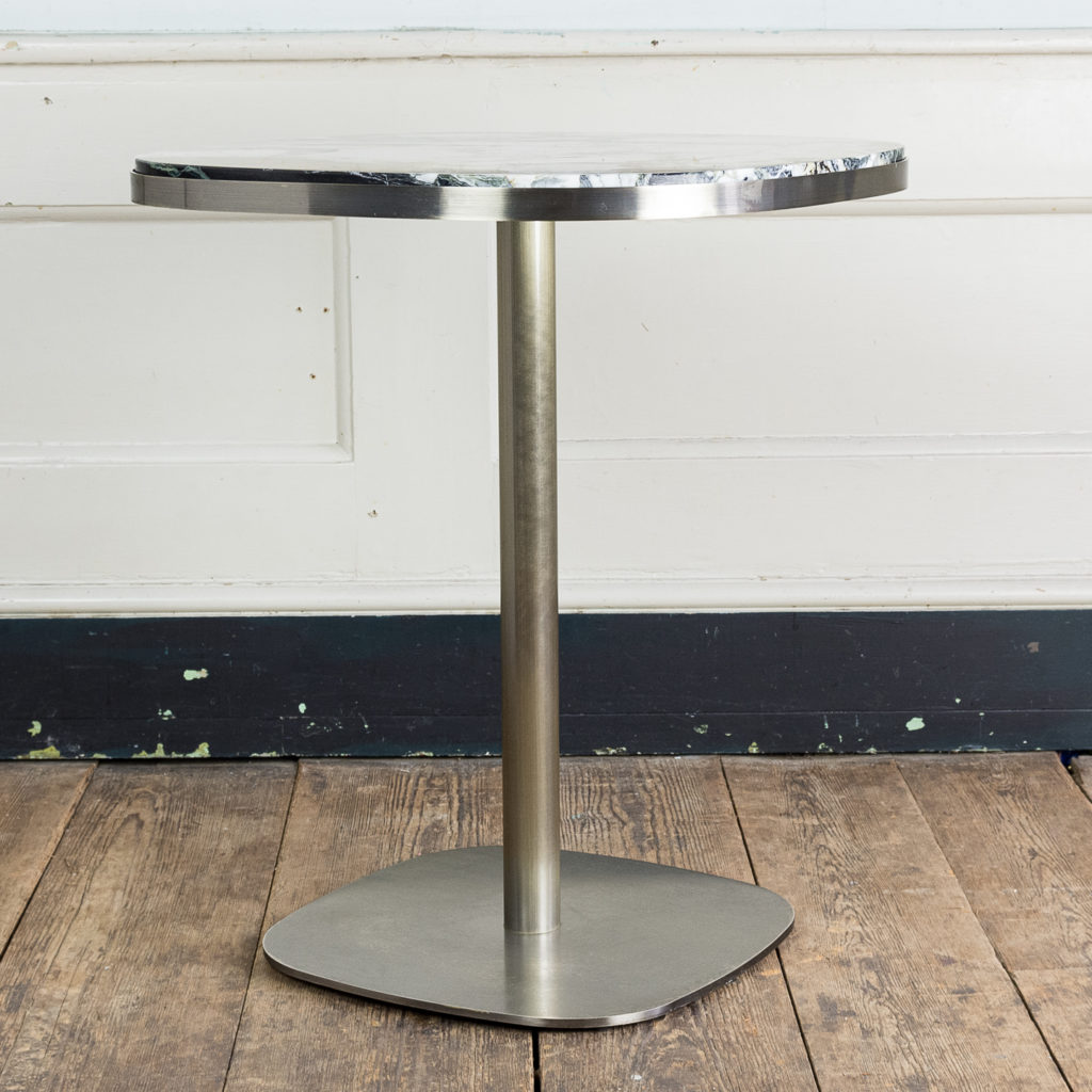 Brushed steel and marble restaurant tables,-139914