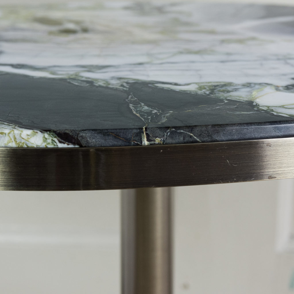 Brushed steel and marble restaurant tables,-139926
