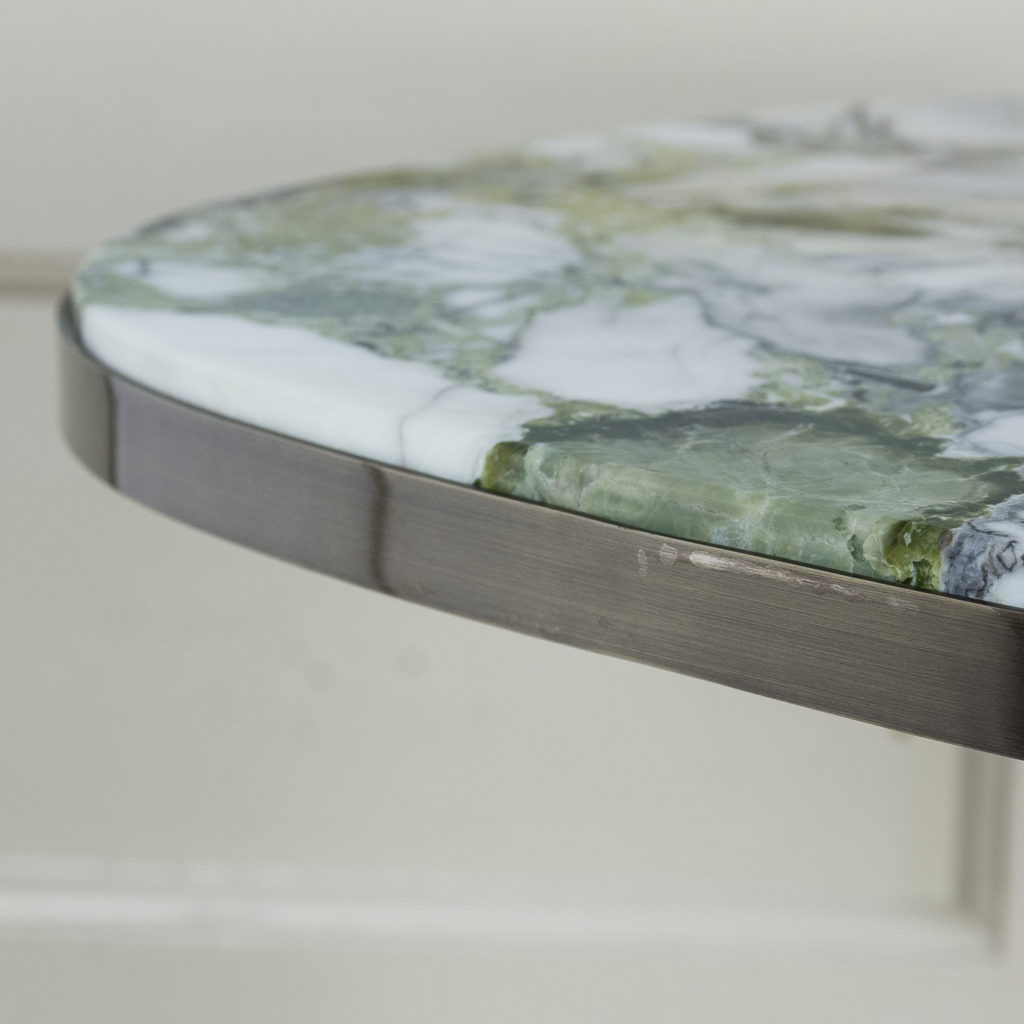 Brushed steel and marble restaurant tables,-139927