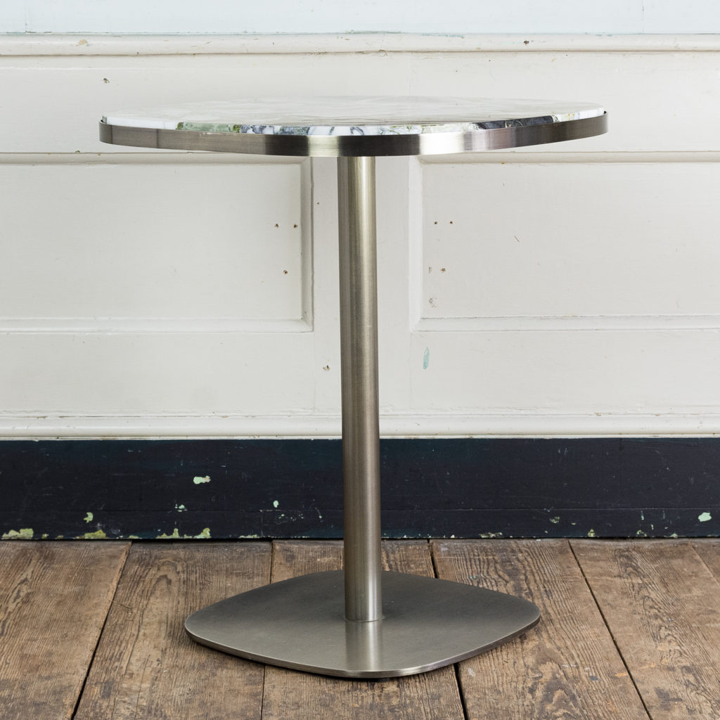 Brushed steel and marble restaurant tables,-139929
