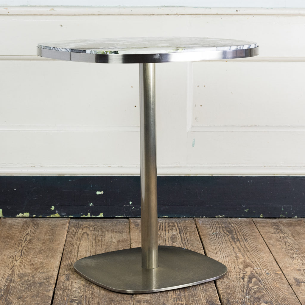 Brushed steel and marble restaurant tables,-139943