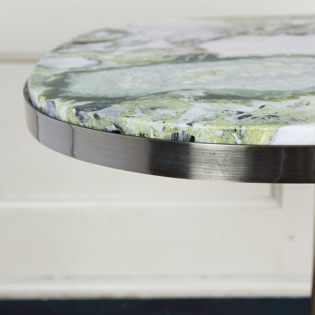 Brushed steel and marble restaurant tables,-139954