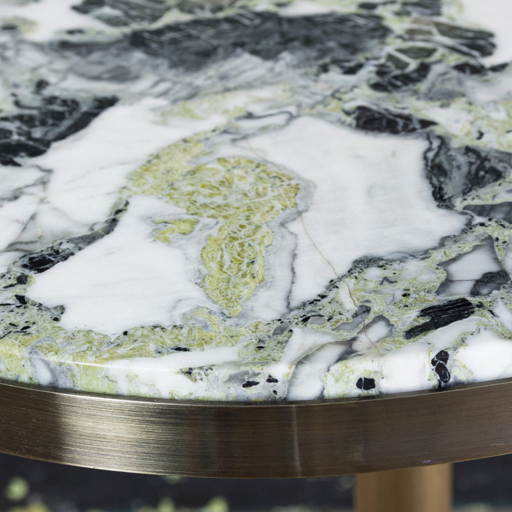 Brushed steel and marble restaurant tables,-139955