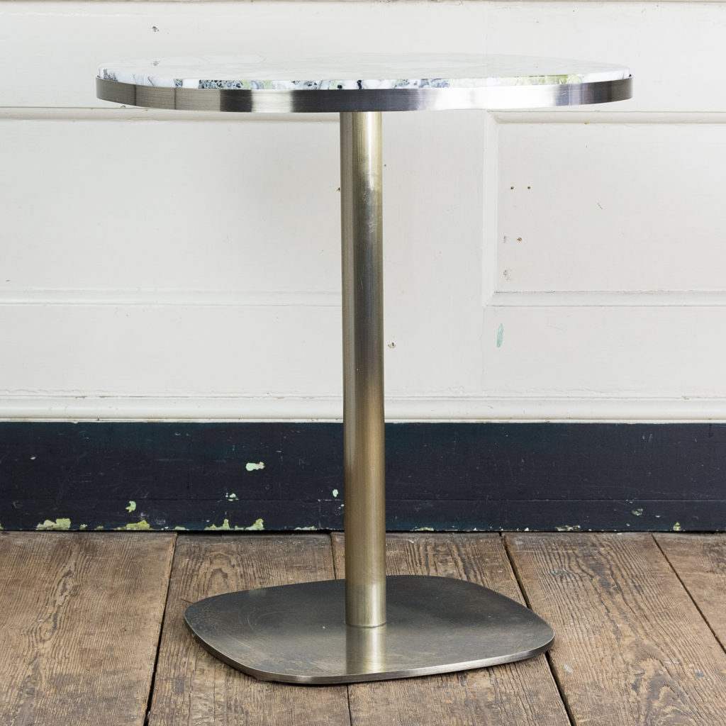 Brushed steel and marble restaurant tables,-139956