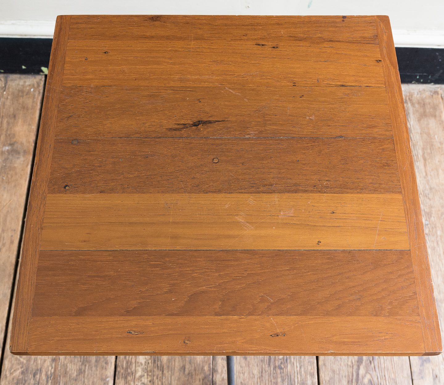 with cleated teak strip top