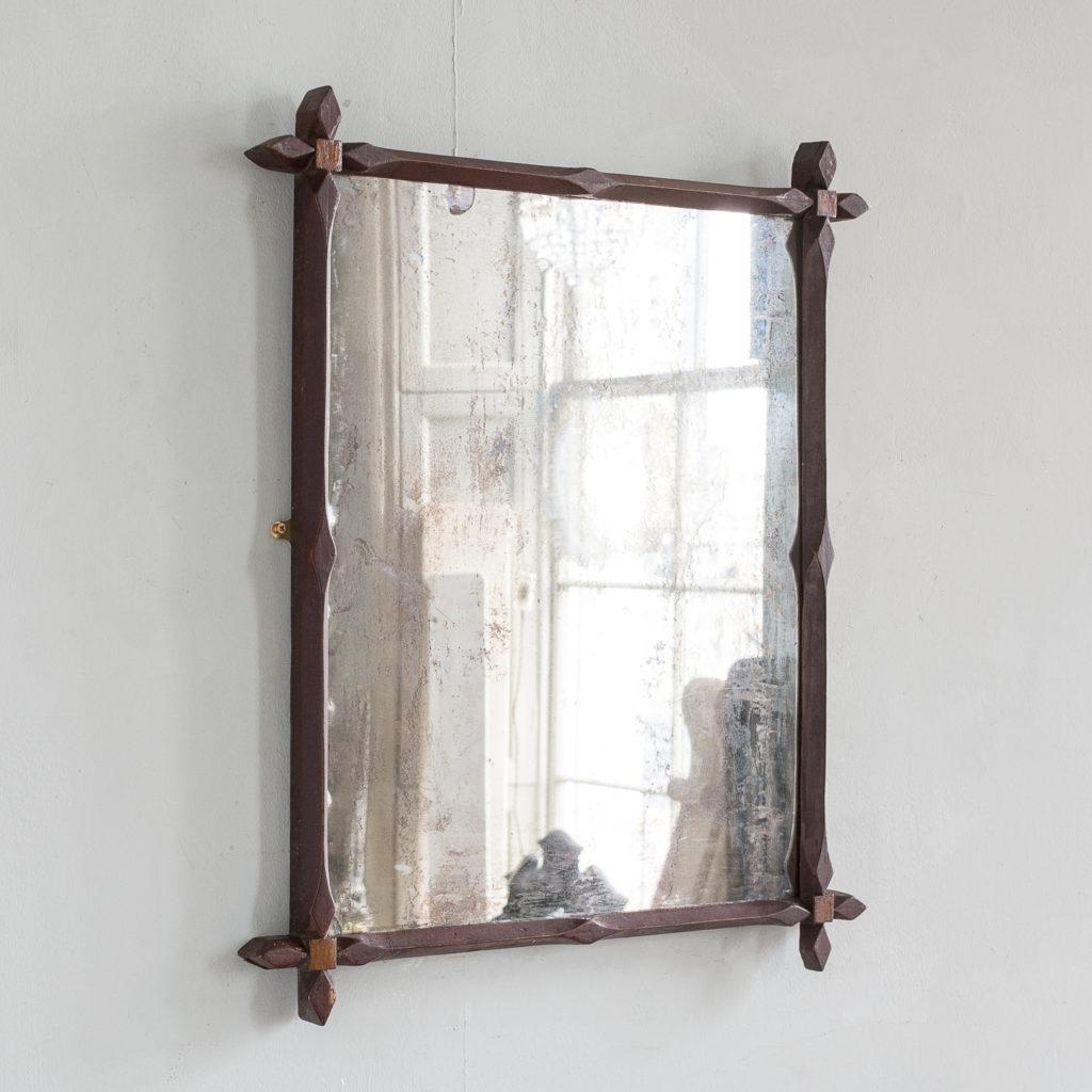 Victorian oak 'Oxford' mirror,