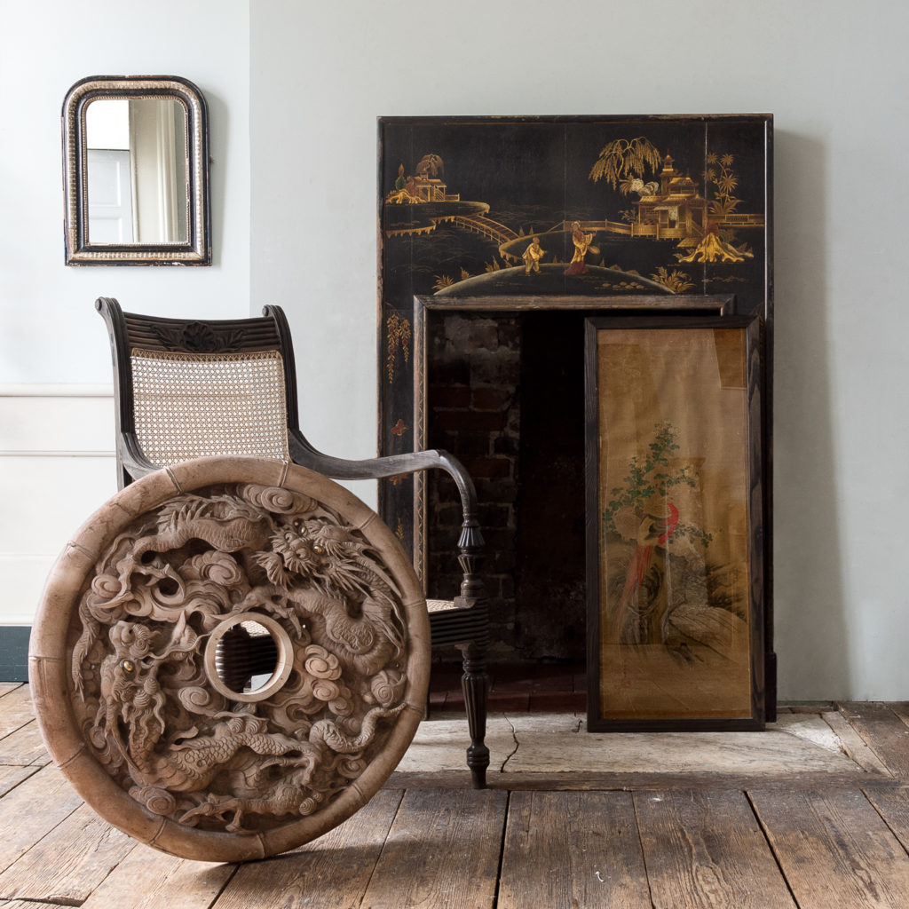 French ebonised and parcel silver-gilt wall mirror,-140003