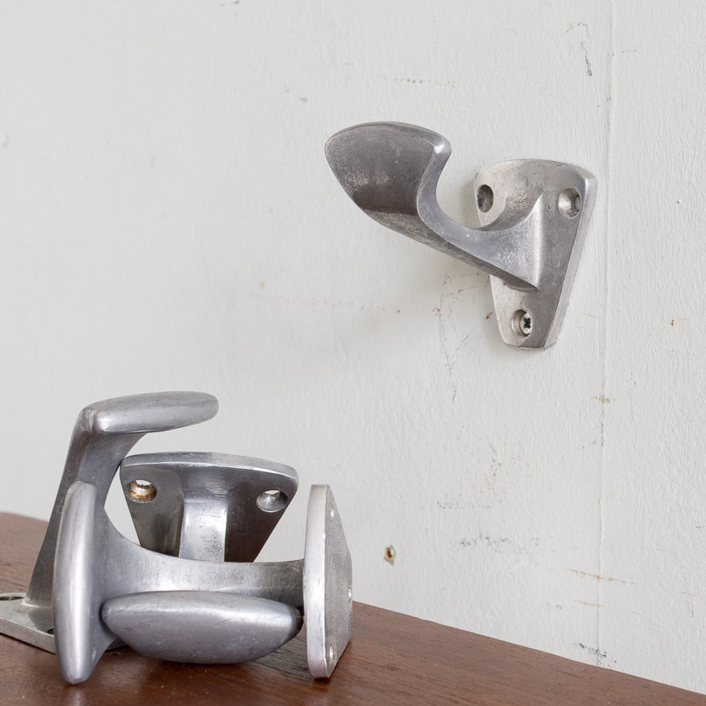 French mid-century cast aluminium coat hooks,
