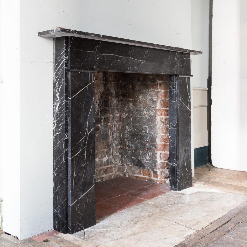 Nineteenth century style Nero Marquina fireplace,-140153