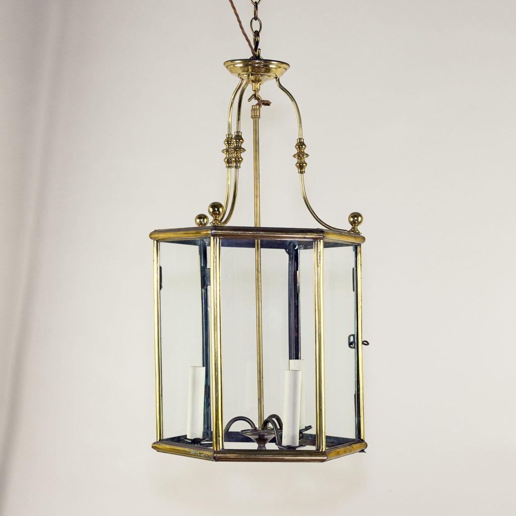Twentieth century brass hall lantern,