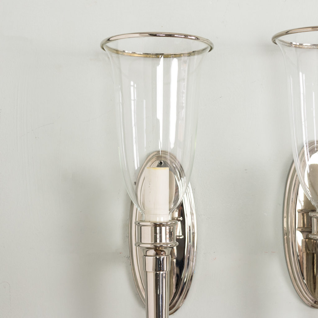 Pair of modern silver-plate wall lights,-140439