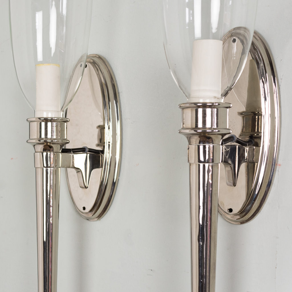 Pair of modern silver-plate wall lights,-140438