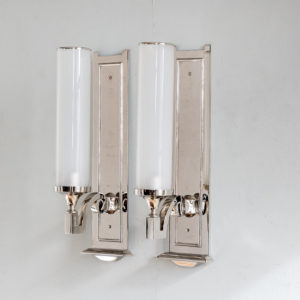 Pair of modern silver-plate storm shade wall sconces,