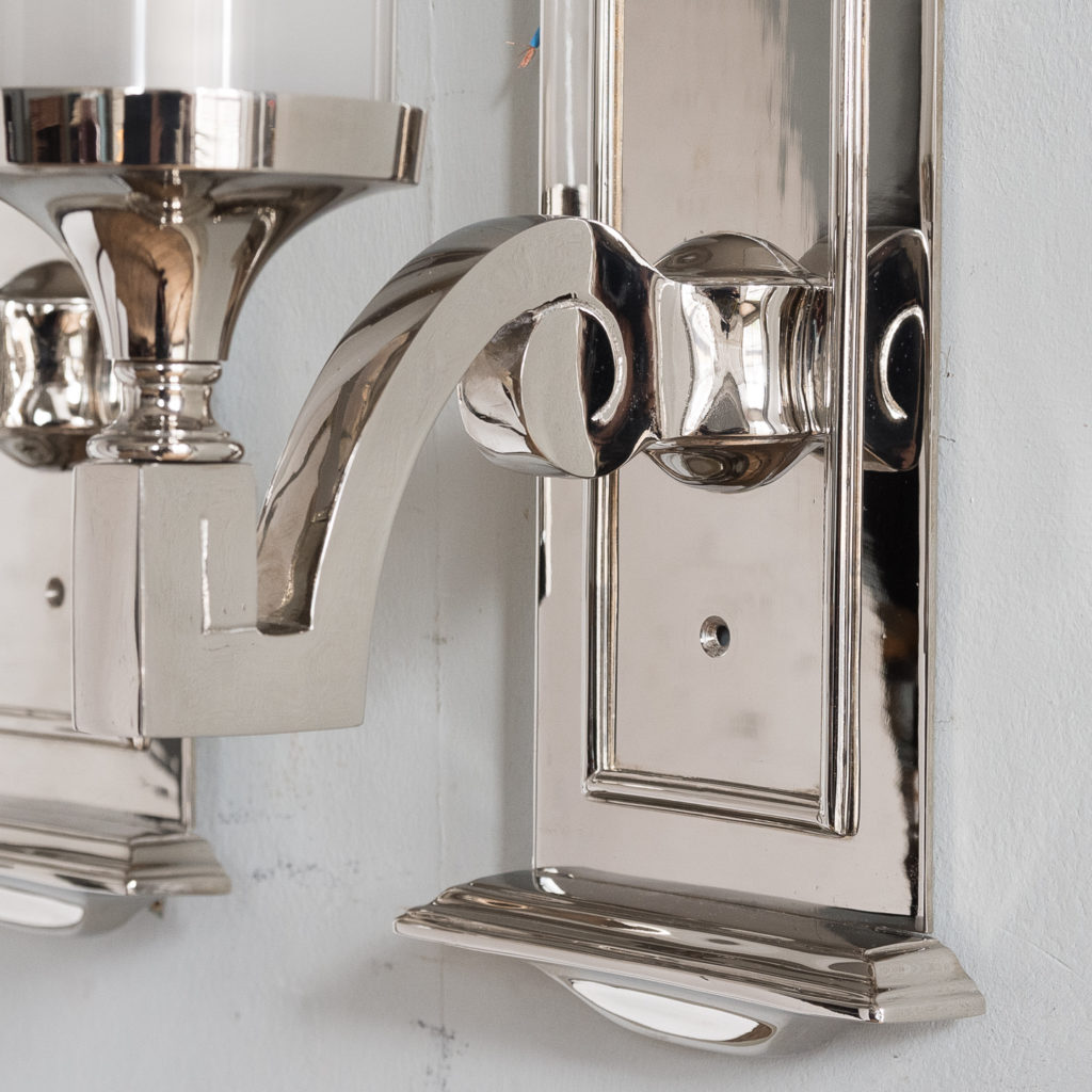 Pair of modern silver-plate storm shade wall sconces, -140418