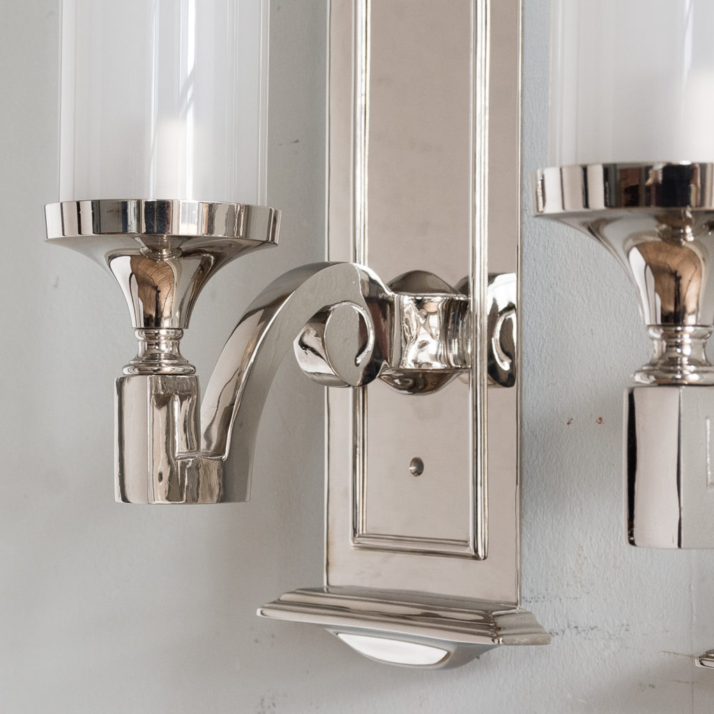 Pair of modern silver-plate storm shade wall sconces, -140420