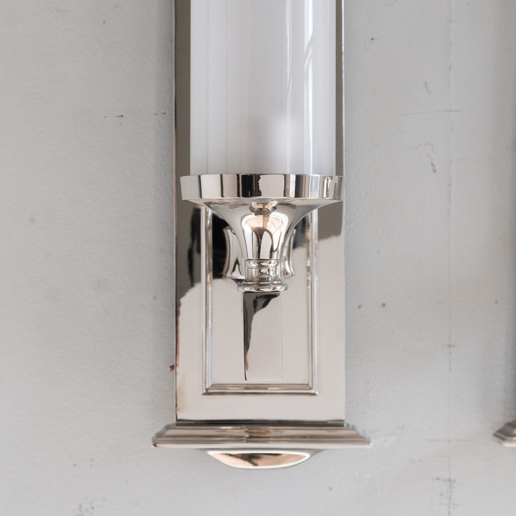 Pair of modern silver-plate storm shade wall sconces, -140419