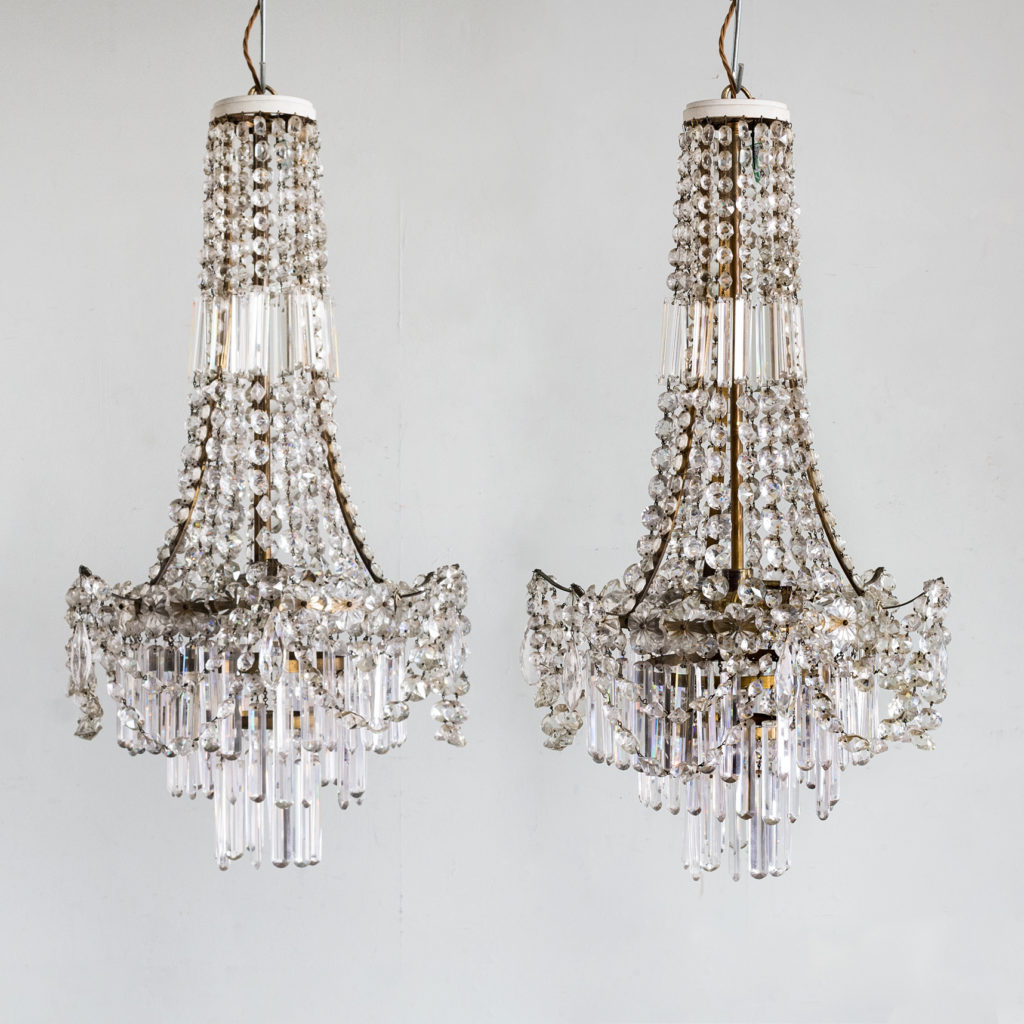 Pair of Regency style glass waterfall chandeliers,